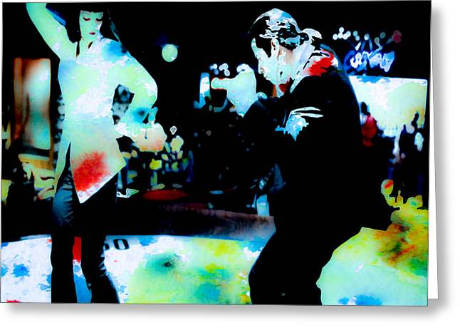 Samuel L Jackson Greeting Cards - Pulp Fiction Dance Watercolors Greeting Card by Brian Reaves