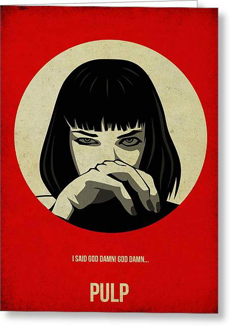 Famous Actress Greeting Cards - Pulp Fiction Poster Greeting Card by Naxart Studio