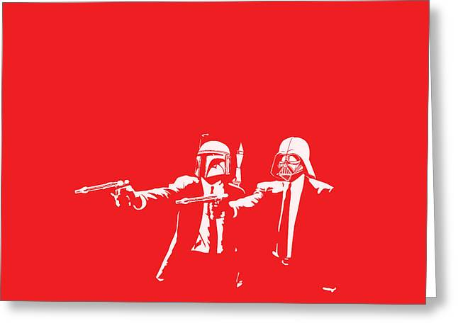 Red Digital Art Greeting Cards - Pulp Wars Greeting Card by Patrick Charbonneau