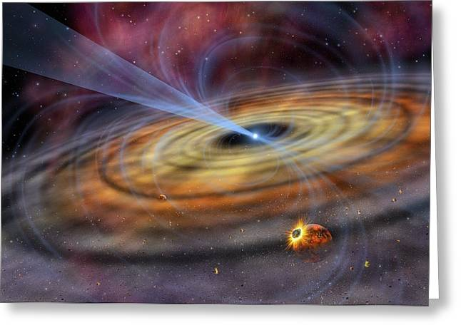 Pulsar Planets Greeting Cards - Pulsar planetary disc, artwork Greeting Card by Science Photo Library