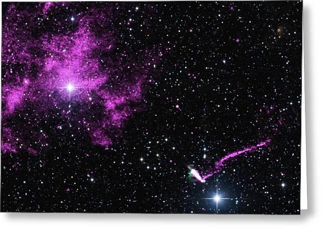 Pulsar Wind Nebula And Jet Greeting Card by Nasa/cxc/isdc/l.pavan Et Al/csiro/atnf/atca/2mass/umass/ipac-caltech/nsf