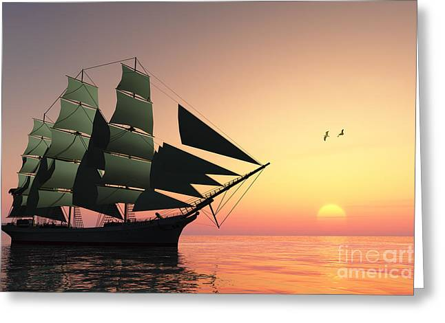 Schooner Digital Greeting Cards - Pulse of Life Greeting Card by Corey Ford