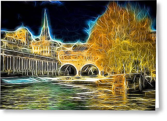 Pulteney Bridge Greeting Cards - Pulteney bridge anarchy Greeting Card by Ron Harpham