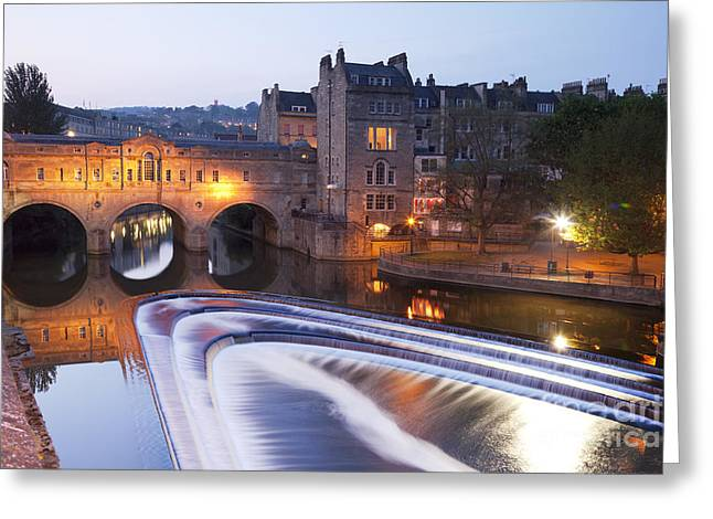 Historic England Greeting Cards - Pulteney Bridge and Weir Bath Greeting Card by Colin and Linda McKie