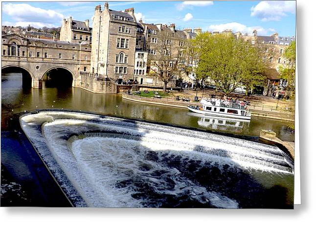 Historical Images Greeting Cards - Pulteney Bridge At River Avon In Bath Greeting Card by Rumyana Whitcher