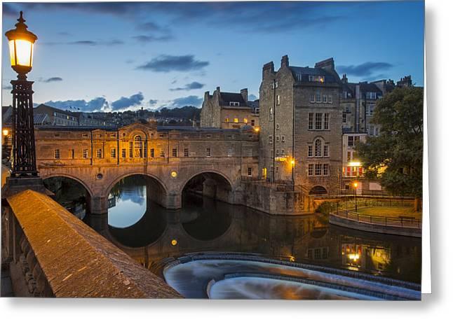 Sluice Greeting Cards - Pulteney Bridge Bath England Greeting Card by Brian Jannsen