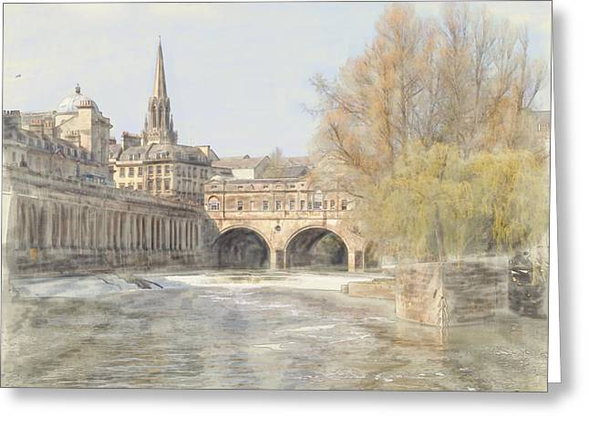 Pulteney Bridge Greeting Cards - Pulteney Bridge Bath Greeting Card by Ron Harpham