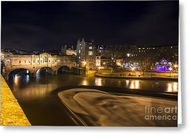 Pulteney Bridge Greeting Cards - Pulteney Bridge by night  Greeting Card by Rob Hawkins