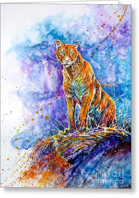 Puma. Listening To The Sounds Of The Mountains.  Greeting Card by Zaira Dzhaubaeva