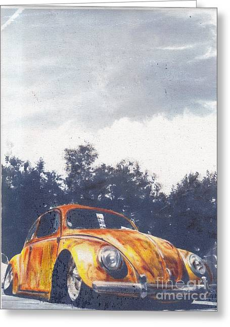 Historic Vehicle Pastels Greeting Cards - Pumkin Pie Greeting Card by Sharon Poulton