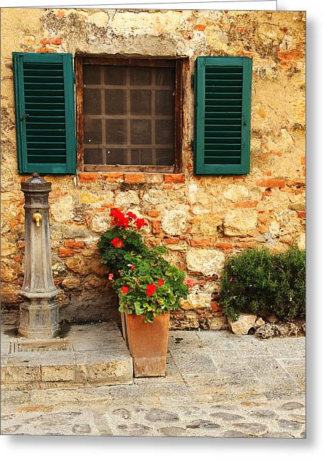 Chianti Greeting Cards - Pump and Window With Green Shutters in Chianti Greeting Card by Greg Matchick