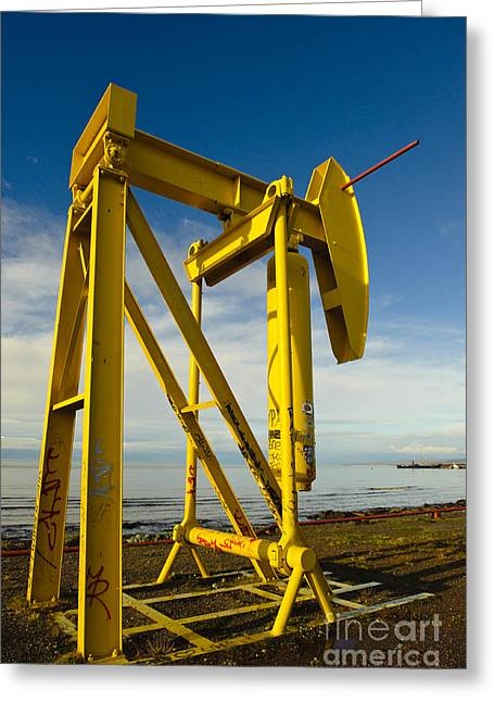 Beam Pump Greeting Cards - Pumpjack On Chilean Shoreline Greeting Card by John Shaw