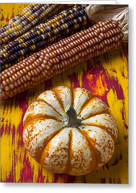 Fall Fruit Greeting Cards - Pumpkin and Indian corn Greeting Card by Garry Gay