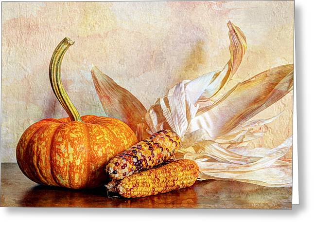 Patch Greeting Cards - Pumpkin And Indian Corn Greeting Card by Heidi Smith