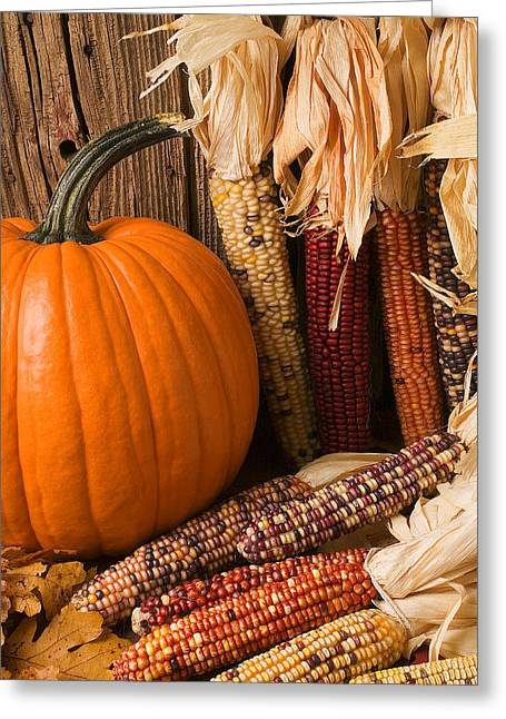 Husks Greeting Cards - Pumpkin and Indian corn still life Greeting Card by Garry Gay