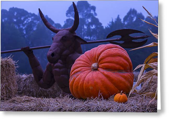 Minotaur Greeting Cards - Pumpkin and Minotaur Greeting Card by Garry Gay