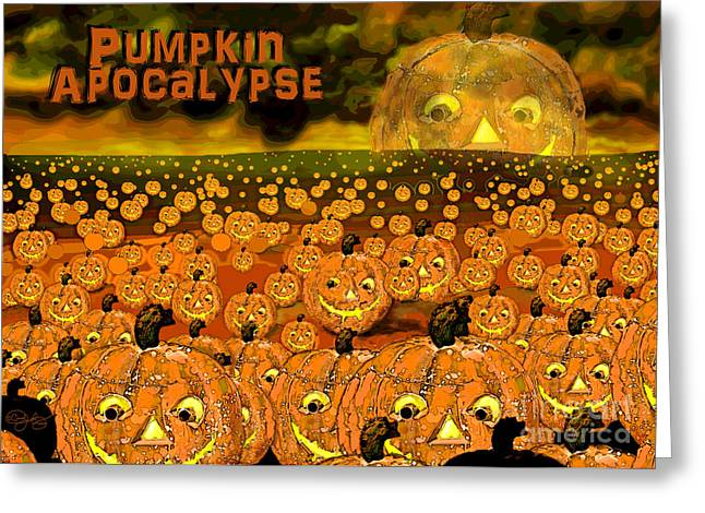 Man In The Moon Greeting Cards - Pumpkin Apocalypse  Greeting Card by Carol Jacobs