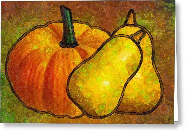 Pumpkins Mixed Media Greeting Cards - Pumpkin Art Abstract Realism Greeting Card by Georgiana Romanovna