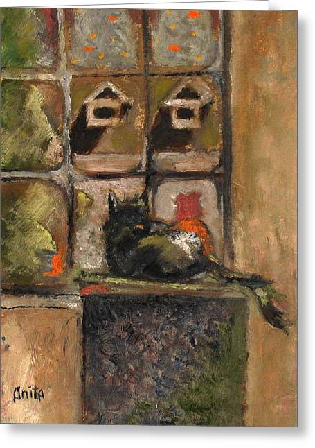 Pictures Of Cats Paintings Greeting Cards - Pumpkin at Christmas Greeting Card by Anita Dale Livaditis