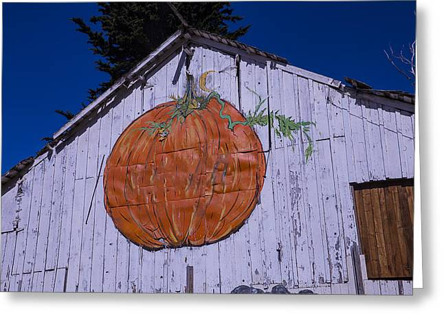 White Pumpkin Greeting Cards - Pumpkin Barn Greeting Card by Garry Gay