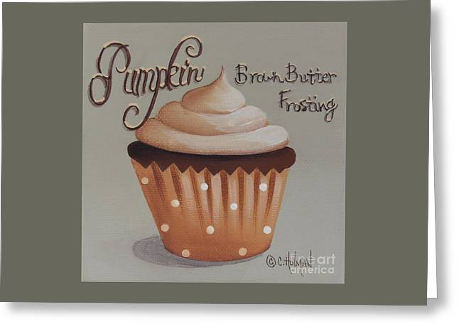 Catherine Greeting Cards - Pumpkin Brown Butter Frosting Cupcake Greeting Card by Catherine Holman