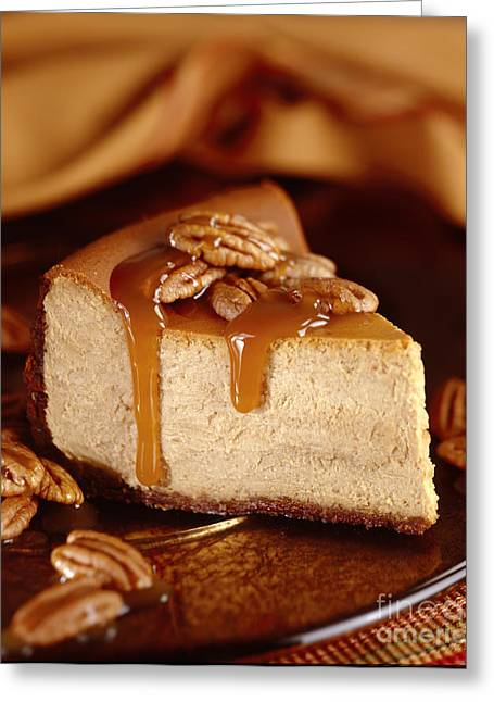Cheese Cake Greeting Cards - Pumpkin Cheese Cake with Pecans and Caramel Sauce Greeting Card by Iris Richardson