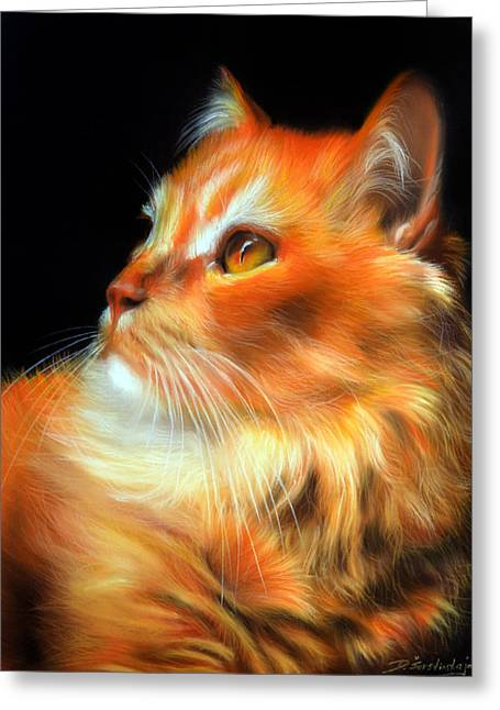 Photorealism Pastels Greeting Cards - Pumpkin Greeting Card by Danguole Serstinskaja