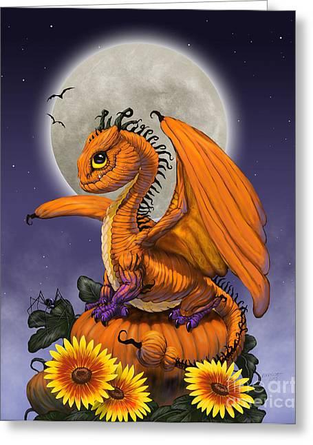 Pumpkins Digital Greeting Cards - Pumpkin Dragon Greeting Card by Stanley Morrison