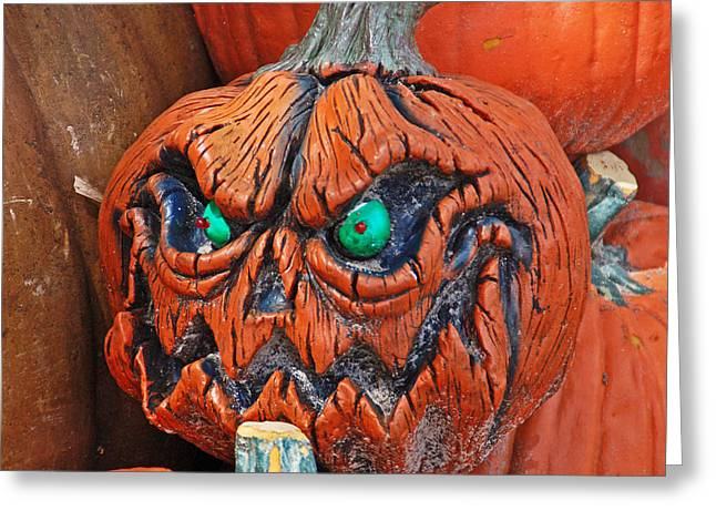 Patch Greeting Cards - Pumpkin Face Greeting Card by Aimee L Maher Photography and Art