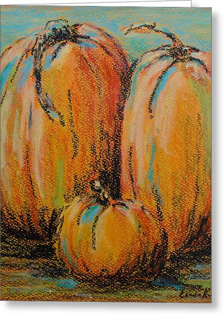 Pumpkins Pastels Greeting Cards - Pumpkin Family Greeting Card by Linda Krukar