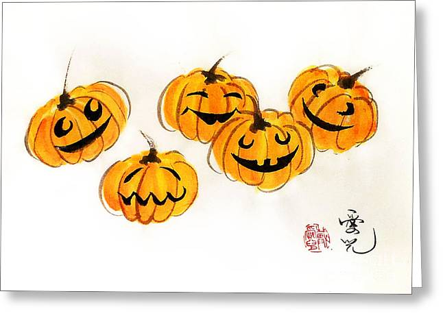 Sumie Greeting Cards - Pumpkin Fun Greeting Card by Oiyee  At Oystudio