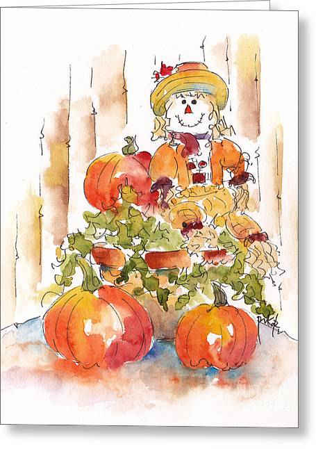 Front Steps Greeting Cards - Pumpkin Gal Greeting Card by Pat Katz