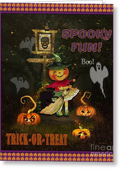 Witch Cat Greeting Cards - Pumpkin Girl Greeting Card by Jean Plout
