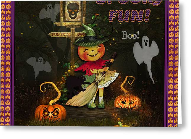 Halloween Sign Greeting Cards - Pumpkin Girl Greeting Card by Jean Plout