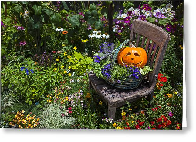 Garden Chairs Greeting Cards - Pumpkin in basket on chair Greeting Card by Garry Gay