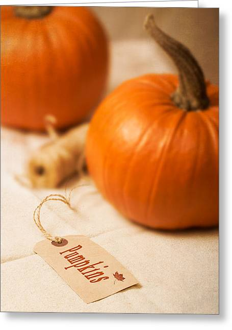 Label Photographs Greeting Cards - Pumpkin Label Greeting Card by Amanda And Christopher Elwell