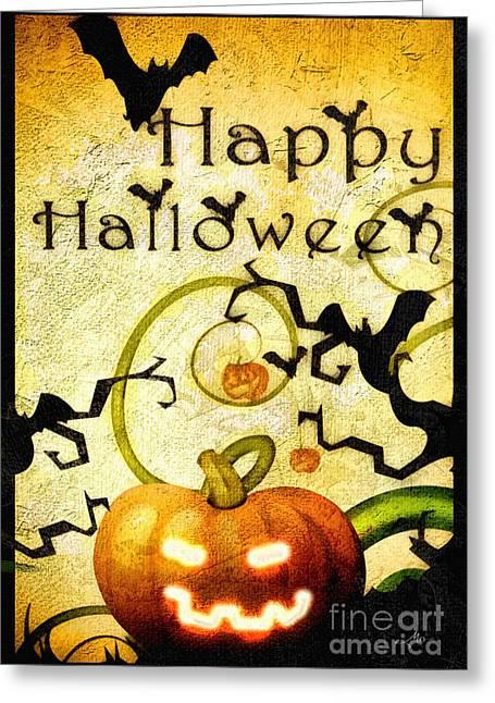 Pumpkins Mixed Media Greeting Cards - Pumpkin Greeting Card by Mo T