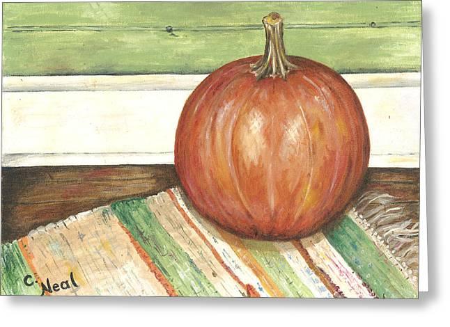 Rag Rug Greeting Cards - Pumpkin on a Rag Rug Greeting Card by Carol Neal