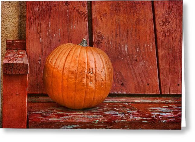 Warm Tones Greeting Cards - Pumpkin on Bench #2 - Southwestern Still Life Greeting Card by Nikolyn McDonald