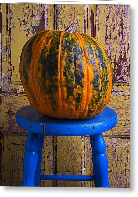 Worn Out Greeting Cards - Pumpkin On Blue Stool Greeting Card by Garry Gay