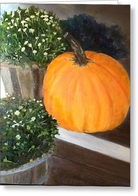 Cindy Plutnicki Greeting Cards - Pumpkin On Doorstep Greeting Card by Cindy Plutnicki
