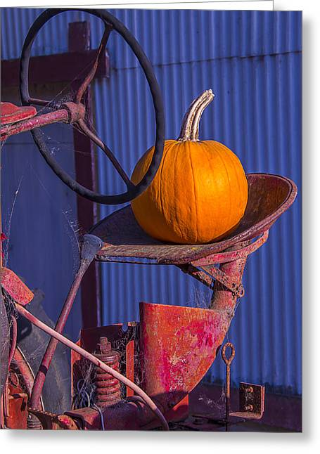 Dilapidated Greeting Cards - Pumpkin On Tractor Seat Greeting Card by Garry Gay