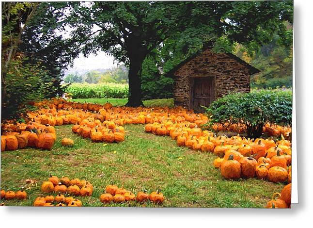Cornfield Mixed Media Greeting Cards - Pumpkin Patch Greeting Card by Garland Johnson