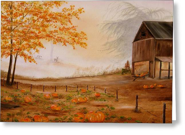 Smoky Paintings Greeting Cards - Pumpkin Patch Greeting Card by RJ McNall