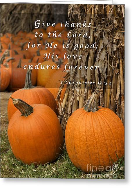 O Lord Greeting Cards - Pumpkin Patch with Scripture Greeting Card by Jill Lang