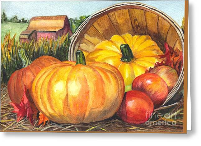 Fall Scenes Drawings Greeting Cards - Pumpkin Pickin Greeting Card by Carol Wisniewski