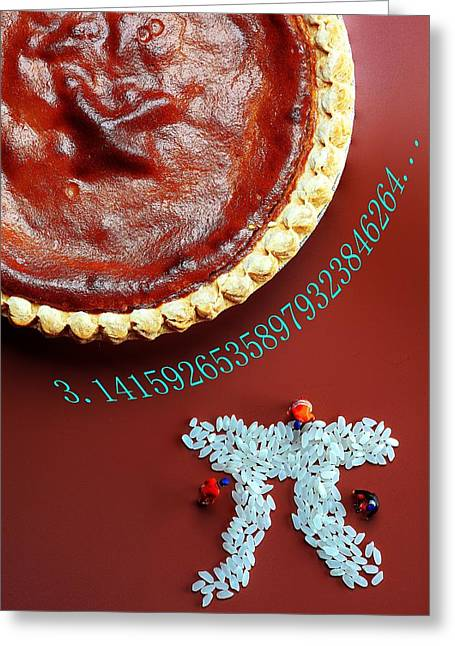 3.14 Greeting Cards - Pumpkin Pie and Pi food physics Greeting Card by Paul Ge