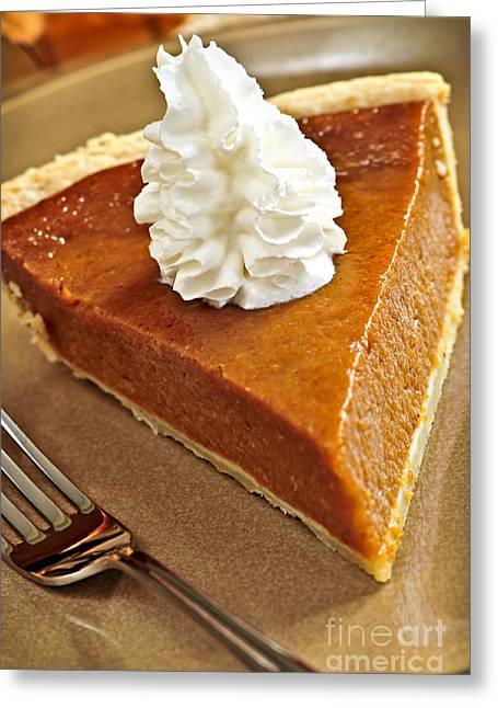 Treat Greeting Cards - Pumpkin pie Greeting Card by Elena Elisseeva