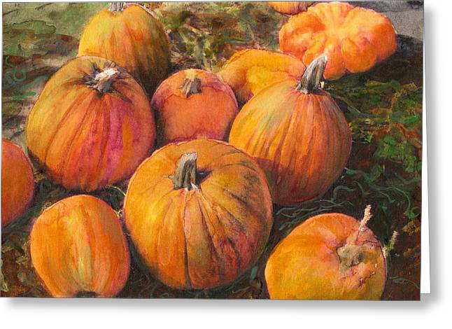 Harvest Mixed Media Greeting Cards - Pumpkin Pile Greeting Card by Susan Powell