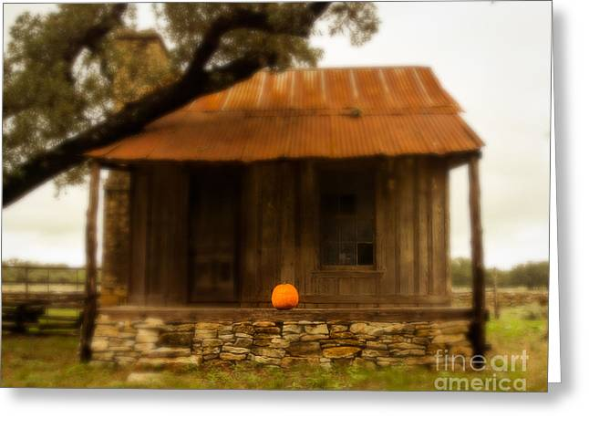 Old Cabins Greeting Cards - Pumpkin Porch Greeting Card by Sonja Quintero